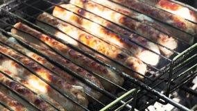 Close-up - vleesworsten met een gouden korst stock video