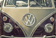 Close up on Volkswagen old vintage car and logo. Sleza, Poland, August 15, 2015: Close up on Volkswagen old vintage car and logo on  Motorclassic show on August Royalty Free Stock Images