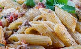 Close-up voor gekookte penne macaroni royalty-vrije stock afbeelding