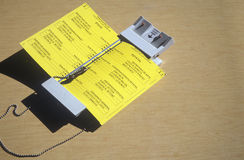 Close-up of a voting booth and ballot machine with ballot , CA Royalty Free Stock Photo