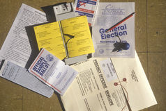 Close-up of a voting booth with ballots. Ballot machine and election pamphlets, CA Royalty Free Stock Photos