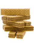 Close up wafer cookies on white Royalty Free Stock Photo