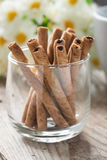 Close up, Wafer roll sticks cream rolls in a cup. Royalty Free Stock Image