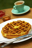 Close up waffle and butter Stock Photo
