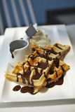 Close up waffle and chocolate Stock Photo