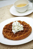 Close up waffle and cream Royalty Free Stock Images