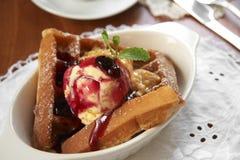 Close up waffle and icecream Stock Photography