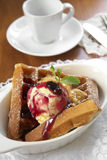 Close up waffle and vanilla icecream Stock Photos
