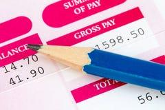 Close up of wage slip Stock Photos