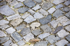 Close up of walkway with grey cobblestones royalty free stock photo