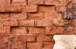 A wall of haphazardly placed red bricks royalty free stock images
