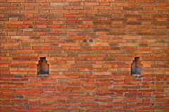 Close up the wall of Tha Phae Gate in Chiang Mai, Thailand. Background of red old brick wall Royalty Free Stock Image