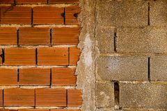 Close-up of wall with two types of apparent brick Stock Photography
