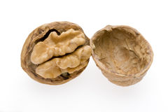 Close up Walnut. Close-up of a walnut against white background Stock Images