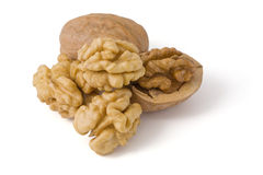 Close-up of a walnut. File content a clipping path Royalty Free Stock Image