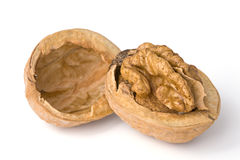 Close-up of a walnut. File content a clipping path Stock Photos