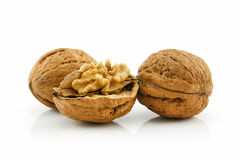 Close-up of a Walnut Fruits Isolated on White Royalty Free Stock Photo