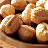 Close up of walnuts in bowl Royalty Free Stock Photos