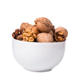 Close up of walnuts bunch in bowl. Stock Image
