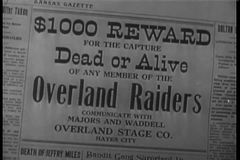 Close-up of Wanted Dead Or Alive headline stock video footage