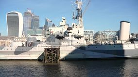 Close up of war ship in London