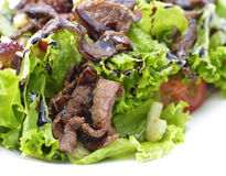 Close up of warm salad with beef and vegetables Royalty Free Stock Photo