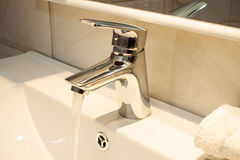 Close up of a wash basin in a modern bathroom Royalty Free Stock Image