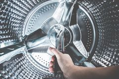 Close Up of a Washing Machine inside view royalty free stock images