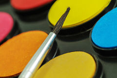 Close up of Water color paints and brush Royalty Free Stock Photo