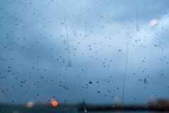 Close-up of water droplets on glass Stock Photography