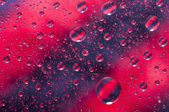 Close-up on water drops background on red and black surface. Wat. Er droplets with reflections in them Stock Photography