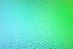Close up of a water drops. On a green and blue gradient background, covered with drops of water -condensation Stock Image
