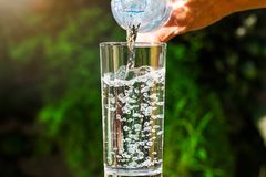 Close up of water flowing from drinking water bottle into glass on blurred green garden background Stock Image