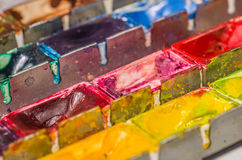 Close up of a watercolor paint box Stock Photo