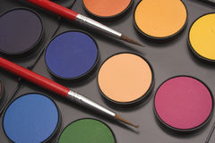 Close up watercolor paints Stock Images