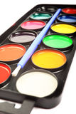 Close up of watercolor palette. Royalty Free Stock Photography