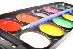Close up of watercolor palette. Stock Image