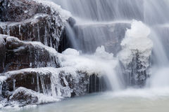 Close-up of a waterfall. And some interesting rock- and ice-formations at Domor-kapu, Hungary Stock Photos