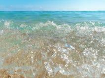 Closeup wave clear blue tropical sea. Close up wave clear blue tropical sea Stock Image