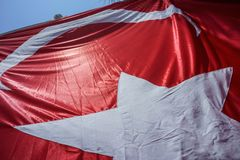 Close up Waving Turkey Flag of Silk. Close up Waving Fabric Flag of Turkey, Turkish National Flag Fabric Background Texture, Turkey Flag Blowing in the Wind stock photos