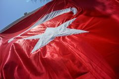 Close up Waving Turkey Flag of Silk. Close up Waving Fabric Flag of Turkey, Turkish National Flag Fabric Background Texture, Turkey Flag Blowing in the Wind stock photography
