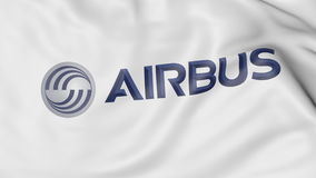 Close-up of waving flag with Airbus logo, editorial 3D rendering. United States United States Royalty Free Stock Photos