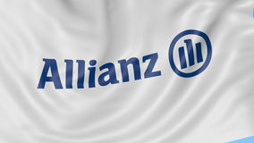 Close up of waving flag with Allianz logo, seamless loop, blue background. Editorial animation. 4K ProRes, alpha. Close up of waving flag with Allianz logo stock footage