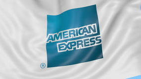 Close up of waving flag with American Express logo, seamless loop, blue background. Editorial animation. 4K ProRes.  stock footage