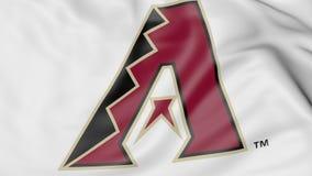 Close-up of waving flag with Arizona Diamondbacks MLB baseball team logo, 3D rendering Royalty Free Stock Images