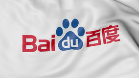 Close up of waving flag with Baidu logo, 3D rendering Stock Photo