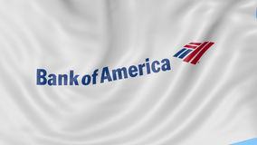 Close up of waving flag with Bank of America logo, seamless loop, blue background. Editorial animation. 4K ProRes, alpha stock video