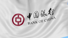 Close up of waving flag with Bank of China logo, seamless loop, blue background. Editorial animation. 4K ProRes, alpha. Close up of waving flag with Bank of stock video