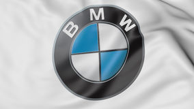 Close up of waving flag with BMW logo, 3D rendering Stock Photo
