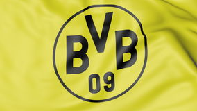 Close-up of waving flag with Borussia Dortmund football club logo Royalty Free Stock Photography